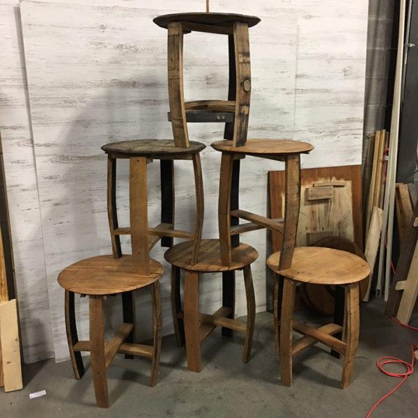 stack of barrel side tables