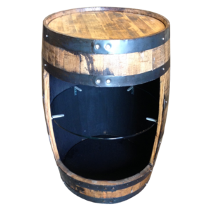bourbon barrel with glass shelf